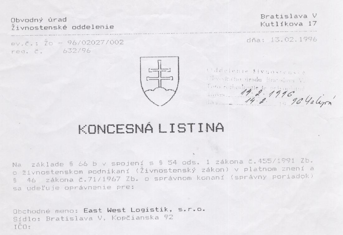 Konzession - eastwestlogistik.sk